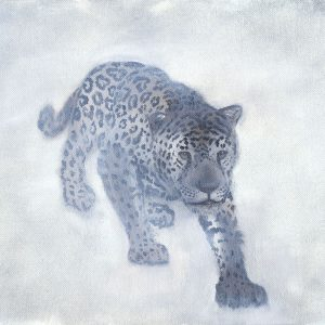 West: White Jaguar -- Crouching from the mist, white jaguar stealthily moves forward honoring the past.