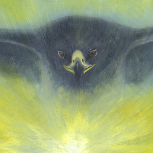 East: Blue Chilean Eagle -- Soaring from the sun, blue Chilean eagle ascends toward its vision of the future.